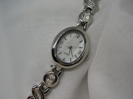 """L40, Ladies White Faced Watch, Big Oval Face, 6"""" Crystal Link Band, wb - $12.99"""