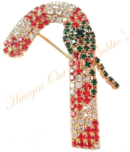 Candy Cane Pin Brooch Crystal Red Clear Green Goldtone Metal Christmas H... - $24.99