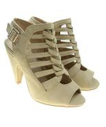 Top Moda PEN Beige Size 6 Strappy Cage Slingback Peep Toe Heels Side Zip - $18.80