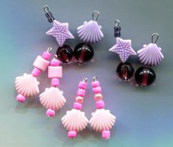sea shell charms starfish charms lot sea life jewelry purple pink glass ... - $2.50