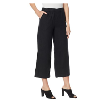 G by Giuliana Women's Wide Leg Pull-On Linen Crop Pant (Black, L) - $17.15