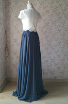 Split Maxi Chiffon Skirt Blue Gray White Wedding Chiffon Skirt Bridesmaid Outfit image 4
