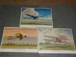 Lot of 3 Best of Charles Hubbell Aviation Plane Lithographs - $20.00