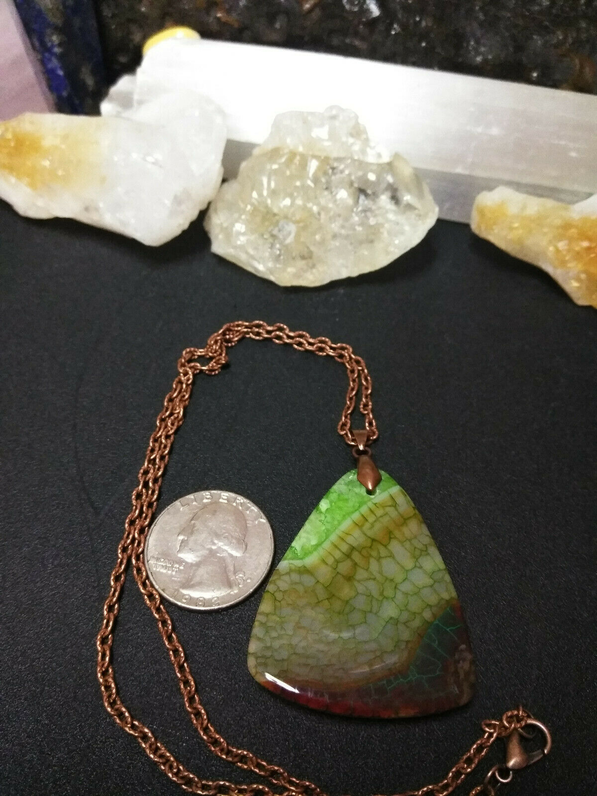 Necklace, Green Quartz Dragon Vein Pendant Copper Chain Natural Stone Women Men  image 8