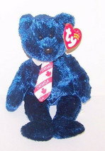 "Ty 2001 POPS Royal Blue Teddy Bear w Red and White CANADA Necktie New 8""... - $6.93"