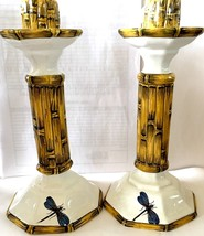 Vintage Porcelain Hand Painted Dragon Fly Candlesticks/signed&number/Capri Italy - $95.00