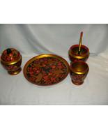 Vintage  Golden Khokhloma 7-Pc Linden Condiment Set Strawberry Russia Ex... - $123.75