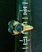 Judith Ripka Sterling/14K Gold Clad Hematite Doublet 3 Stone Ring Sz 10... - $199.95