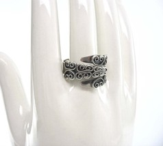 BEAU Sterling Ring, Beaucraft, Bypass, Adjustable, Silver Swirls, Made U... - $23.00