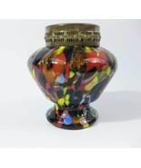 Multi Colored Art Glass Rose Bowl Jar~Vase W/Br... - $45.00