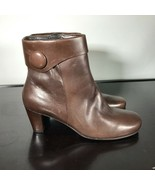 ECCO Women's Ankle Boots Size 40 EU ~  Brown Leather Side Zip, Heels. Wo... - $27.72