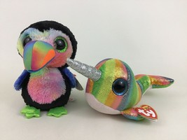 "New Ty Beanie Boos Lot 6"" Beaks Toucan and 6"" Nori Narwhal Plush Stuffed... - $13.32"
