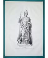 MINERVA Goddess Statue at Chiaramonti Museum in Vatican - 1876 Antique P... - $13.49