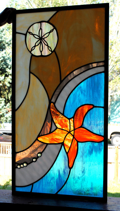 Leaded Stained Glass Window Panel Ocean Sand Dollar Starfish Emerging wave beach