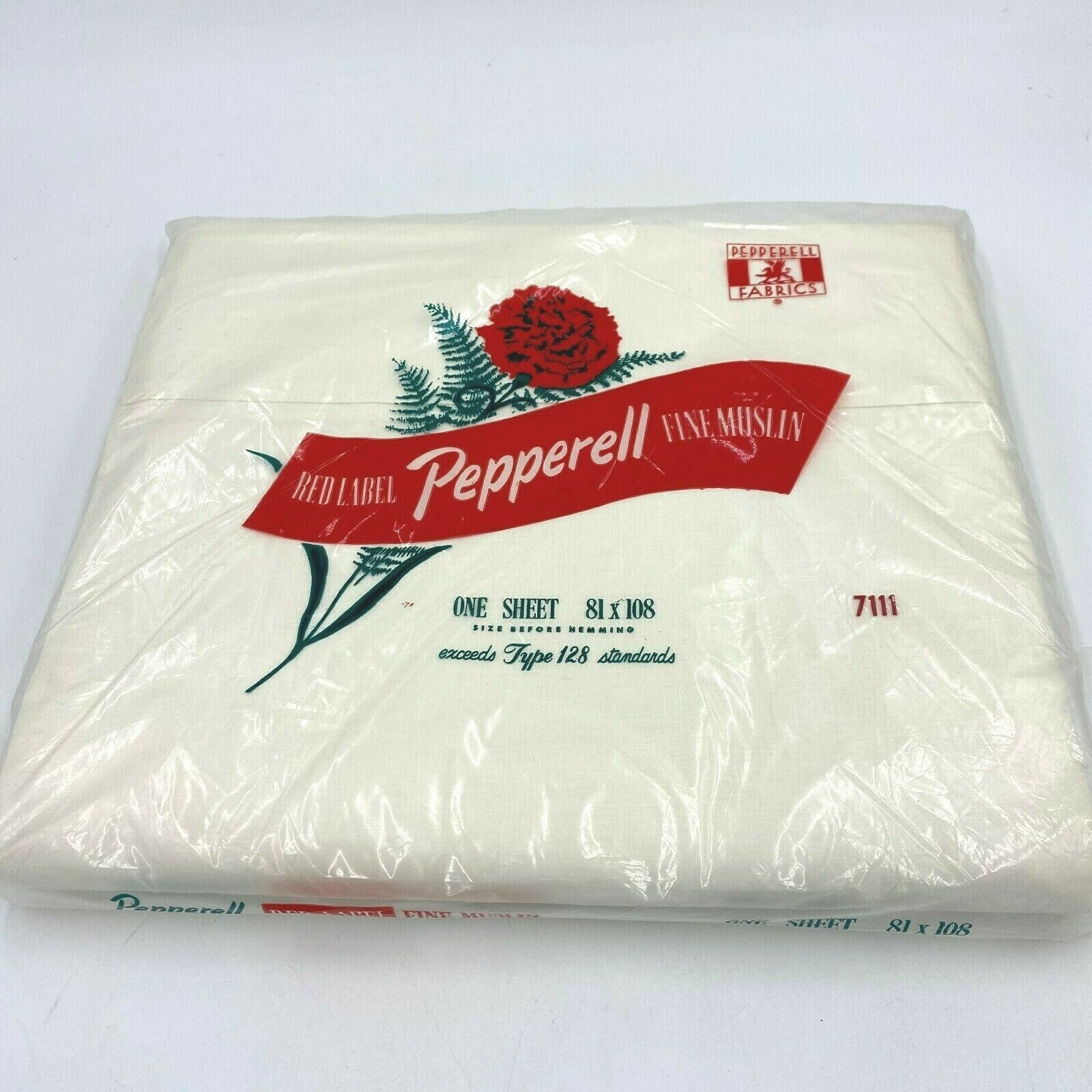 Primary image for Vintage Pepperell White Fine Muslin Flat Sheet Full Size Sealed Red Label USA K9