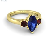 Marquise blue sapphire 18k yellow gold ring with red garnet thumb155 crop