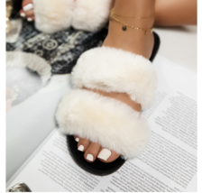 White Fluffy Fur Slide Sandal - $24.99