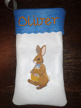 "15"" Personalized Embroidered Easter Pouch / Stocking with Embroidered Ra... - $10.95"