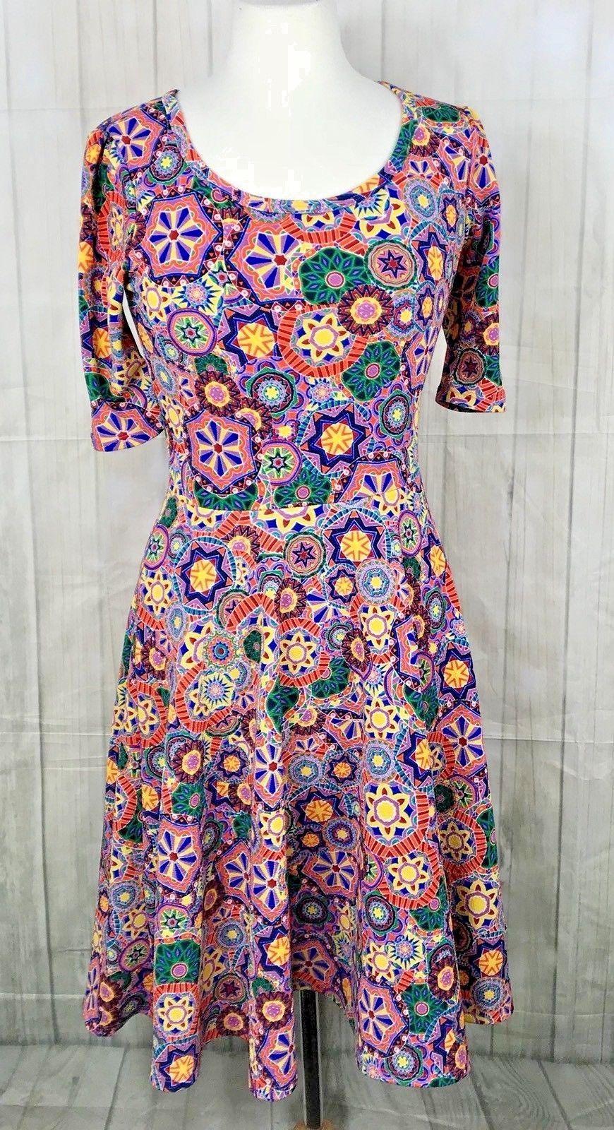 Lularoe Amelia Dress Mandala Bright Swing Sz Small - $38.79