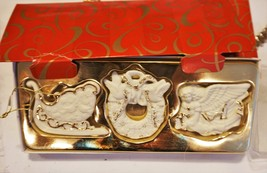 Avon Set of 3 Bisque Porcelain Ornaments with 24K Gold Accents  - $7.01