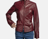 Womens rumella maroon leather biker jacket 5 1491466002150   copy thumb155 crop
