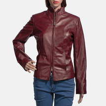 Designer Ladies Brown Leather Motorcycle Jacket-LD-09 image 1