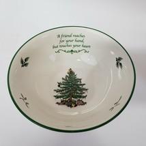 SPODE Christmas Tree green trim Porcelain Bowl Sentiment Revere Dish Fri... - $29.00