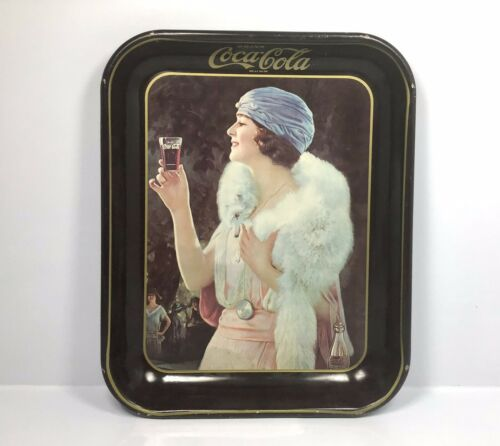 "Primary image for Vintage 1973 Coca Cola Repro Tin Tray - Flapper Girl Mink Advertising 13"" x 10"