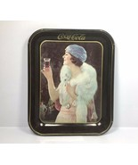 Vintage 1973 Coca Cola Repro Tin Tray - Flapper Girl Mink Advertising 13... - $23.70