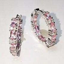 Pink Sapphire Baguette & Clear CZ Cubic Inside Outside Rhodium Hoop Earrings-24m - $39.59