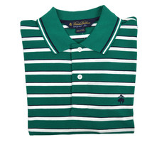 Brooks Brothers Mens Green Woven Striped Original Fit  Polo Shirt Medium 3208-4 - $55.07