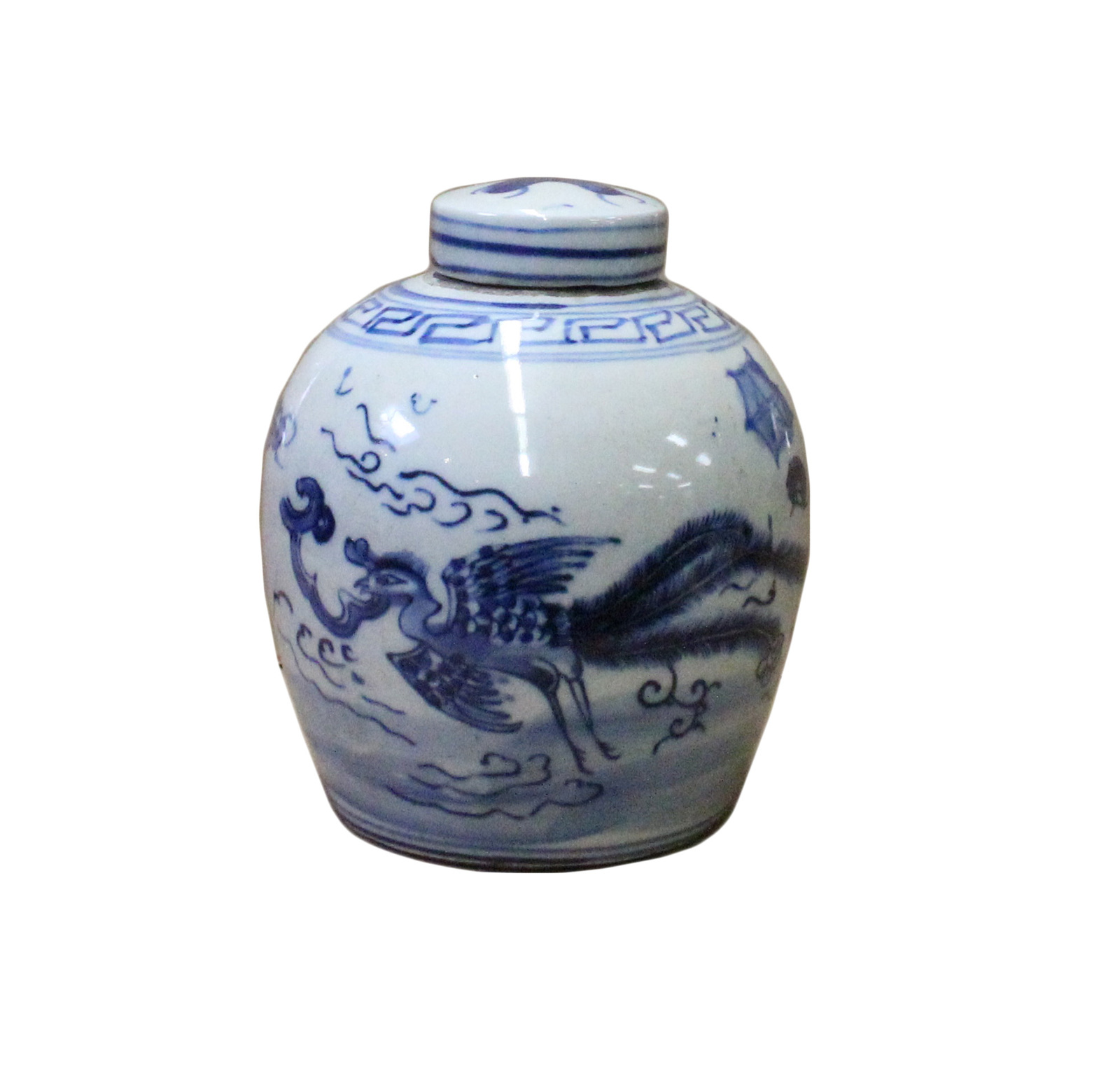 Chinese Oriental Small Blue White Porcelain Ginger Jar cs4433
