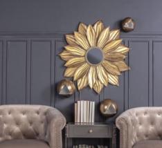 """Mid Modern Farmhouse XL 37"""" Sunburst Starburst Wall Accent Mirror Antique Gold - $236.74"""
