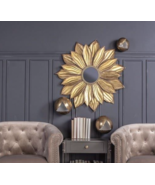 "Mid Modern Farmhouse XL 37"" Sunburst Starburst Wall Accent Mirror Antiqu... - $236.74"