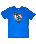 TeeTurtle Marvel CAPTAIN AMERICA Unisex Cobalt Blue Graphic T-Shirt, Large - $19.60