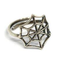 Ring aus Silber 925, Spinnennetz, Effekt Antik, Brüniert, Band, Spinne image 3