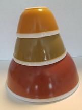 Vintage Pyrex White Band Americana Nesting Mixing Bowl Set 401 402 404 A... - $44.50