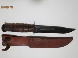 WW11 USMC Knife with leather sheath. Engraved with name of Marine image 4