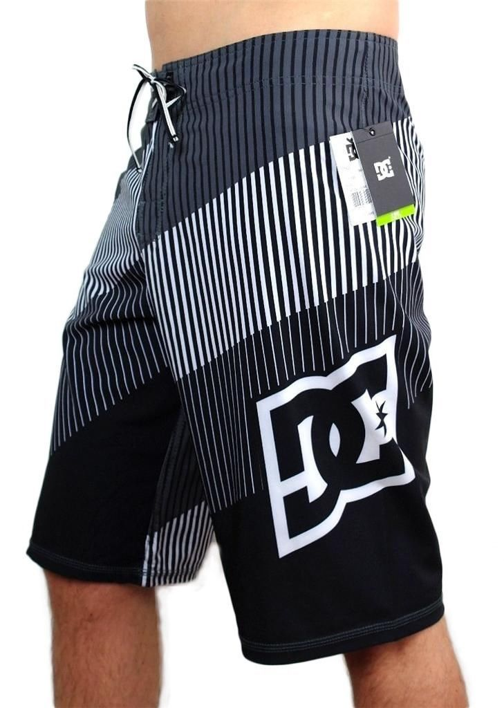 NEW DC SHOES MEN'S CLASSIC BOARD SHORTS SURF TRUNKS SWIMWEAR 4 WAY STRETCH GRAY