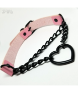 DWL Leather 'Chained Heart' BDSM Choker Necklace in PINK - $11.99