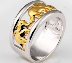 Thai Elephant Yellow White Gold Filled Ring Women's 10KT Ring Lady Jewel... - $25.50