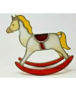 Vintage Pewter Stained Glass Rocking Horse Maroon White Yellow  - $19.79