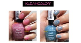 2 PCS set HOLO BLUE & PINK Kleancolor Nail Polish Holographic Glitter OP... - $5.24