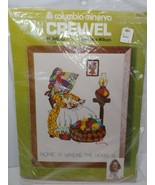 Vintage Columbia Minerva Crewel embroidery Kit Erica Wilson Home Is Wher... - $17.81