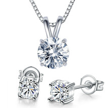 Solitaire Round Brilliant CZ Crystal Rabbit-Ear 10x6mm Pendant in 14k Wh... - $11.75