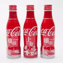 2 Yokohama & Ueno Coca Cola Aluminum Full bottle 3 bottles 250ml Japan Limited - $38.61