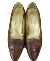 Calico Vintage Brown Heel loafer women Shoe 10 granny - $22.77