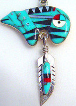 Sterling silver inlay spirit bear & feather pen... - $103.93