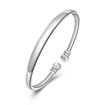 Womens Silver Bangle Fashion Charm Cuff Bracelet - $12.73