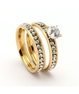 Fashion 316L Stainless steel Ring Sets for Women Luxury Gold Silver wedd... - $12.27